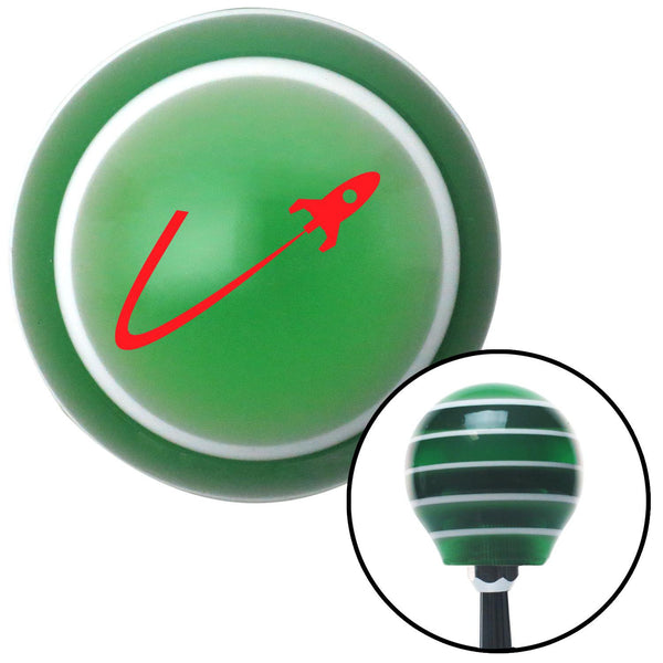 Red Space Ship In Flight Green Stripe Shift Knob with M16 x 15 Insert - American Shifter - Dropship Direct Wholesale