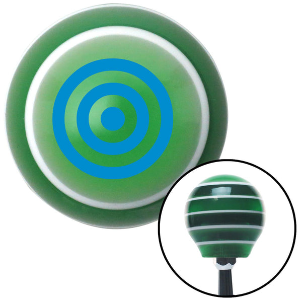 Blue Bulls Eye Green Stripe Shift Knob with M16 x 15 Insert - American Shifter - Dropship Direct Wholesale