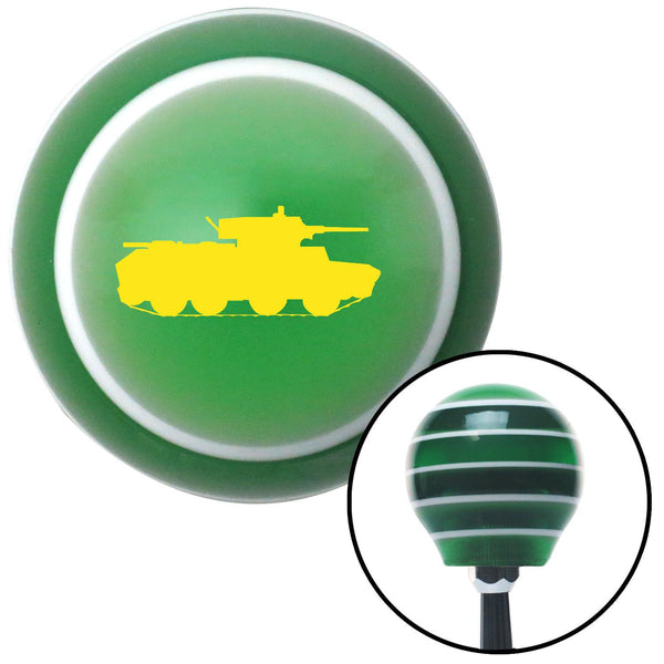 Yellow Military Tank Green Stripe Shift Knob with M16 x 15 Insert - American Shifter - Dropship Direct Wholesale