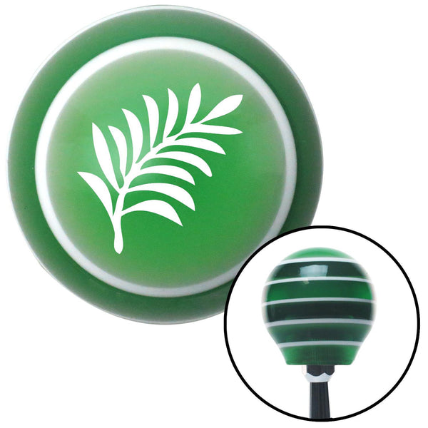 White Hawaiian Leaf 3 Green Stripe Shift Knob with M16 x 15 Insert - American Shifter - Dropship Direct Wholesale