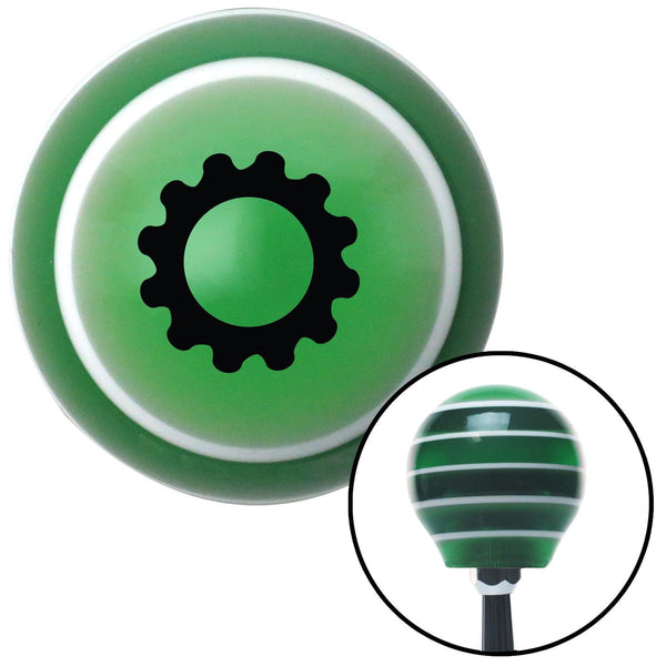 Black Solid Gear Green Stripe Shift Knob with M16 x 15 Insert - American Shifter - Dropship Direct Wholesale