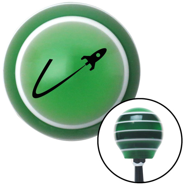 Black Space Ship In Flight Green Stripe Shift Knob with M16 x 15 Insert - American Shifter - Dropship Direct Wholesale