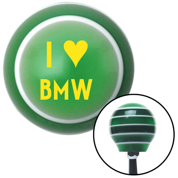 Yellow I 3 BMW Green Stripe Shift Knob with M16 x 15 Insert - American Shifter - Dropship Direct Wholesale