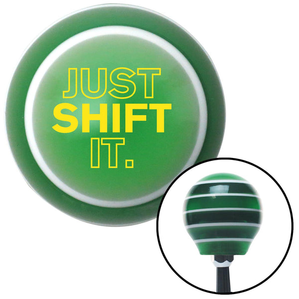 Yellow Just Shift It Green Stripe Shift Knob with M16 x 15 Insert - American Shifter - Dropship Direct Wholesale