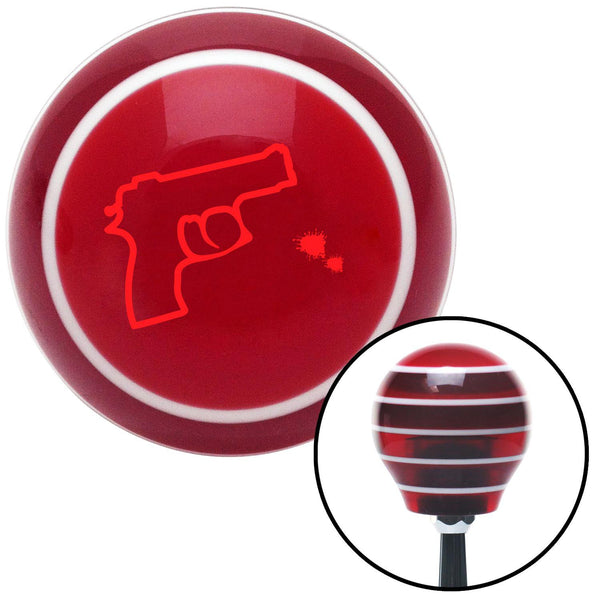 Red Gun Outline w Bullet Holes Red Stripe Shift Knob with M16 x 15 Insert - American Shifter - Dropship Direct Wholesale
