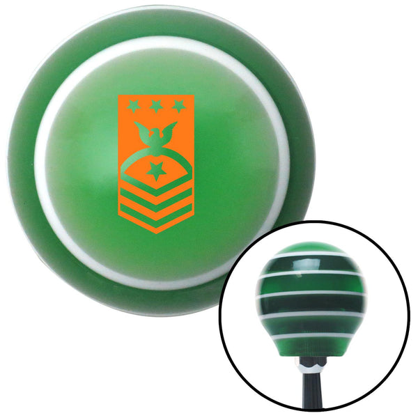 Orange Master Chief Petty Officer of the Navy Green Stripe Shift Knob with M16 x 15 Insert - American Shifter - Dropship Direct Wholesale