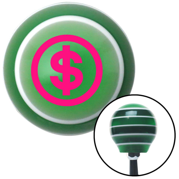 Pink Money Green Stripe Shift Knob with M16 x 15 Insert - American Shifter - Dropship Direct Wholesale