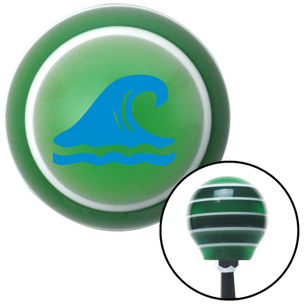 Blue Hawaiian Waves 2 Green Stripe Shift Knob with M16 x 15 Insert - American Shifter - Dropship Direct Wholesale
