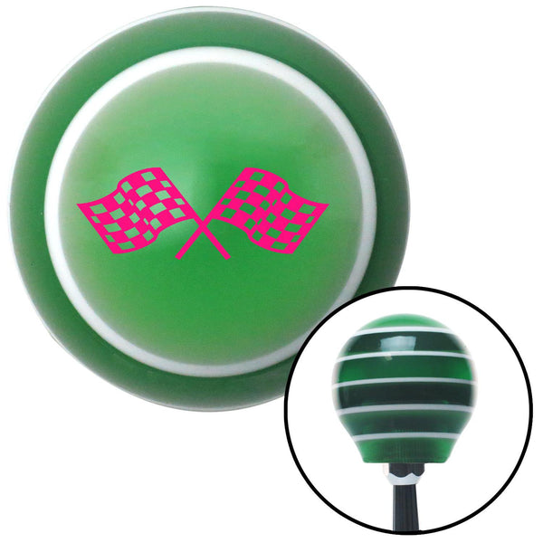 Pink Dual Racing Flags Green Stripe Shift Knob with M16 x 15 Insert - American Shifter - Dropship Direct Wholesale