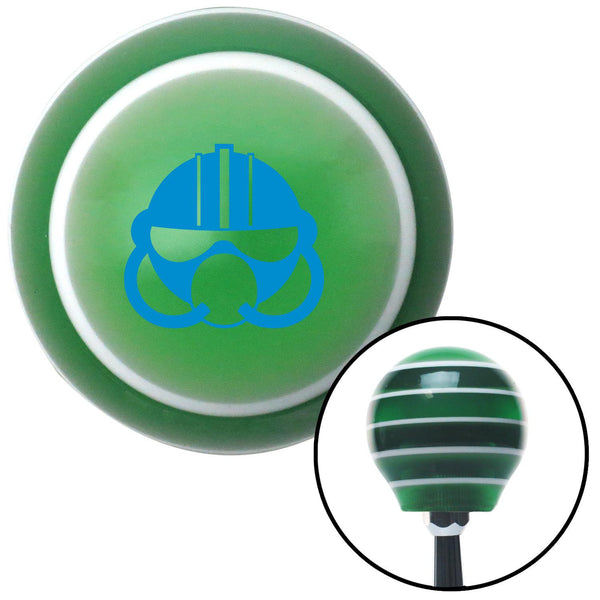 Blue Gas Mask Green Stripe Shift Knob with M16 x 15 Insert - American Shifter - Dropship Direct Wholesale