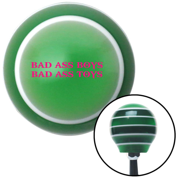 Pink Bad Ass Boys Bad Ass Toys Green Stripe Shift Knob with M16 x 15 Insert - American Shifter - Dropship Direct Wholesale