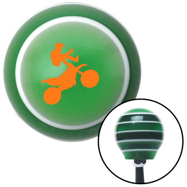 Orange Motocross Rider Green Stripe Shift Knob with M16 x 15 Insert - American Shifter - Dropship Direct Wholesale