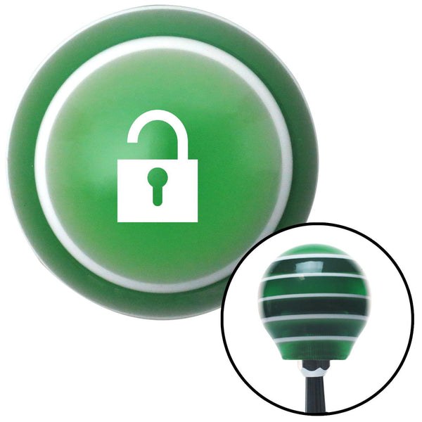 White Unlocked Lock Green Stripe Shift Knob with M16 x 15 Insert - American Shifter - Dropship Direct Wholesale