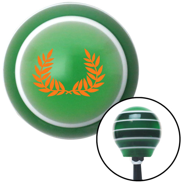 Orange 2 Branches Pointing Up Green Stripe Shift Knob with M16 x 15 Insert - American Shifter - Dropship Direct Wholesale