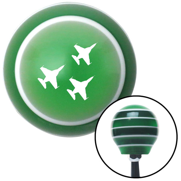 White Jet Formation Green Stripe Shift Knob with M16 x 15 Insert - American Shifter - Dropship Direct Wholesale
