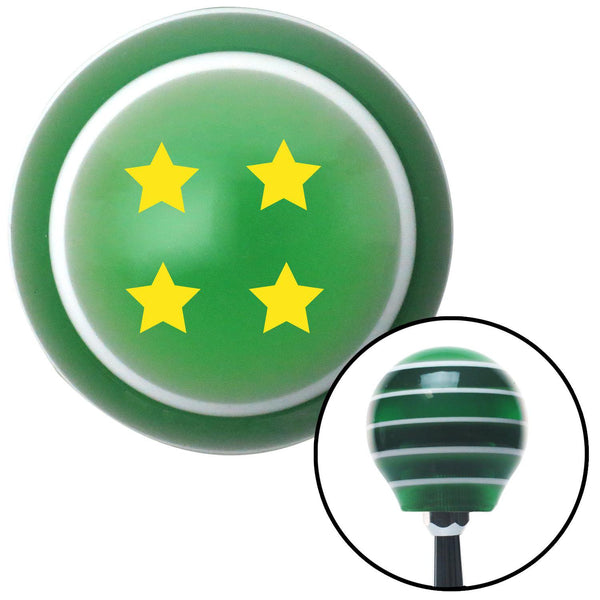 Yellow 4 Stars Green Stripe Shift Knob with M16 x 15 Insert - American Shifter - Dropship Direct Wholesale