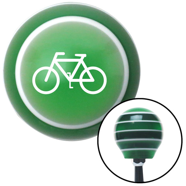 White Bicycle Green Stripe Shift Knob with M16 x 15 Insert - American Shifter - Dropship Direct Wholesale