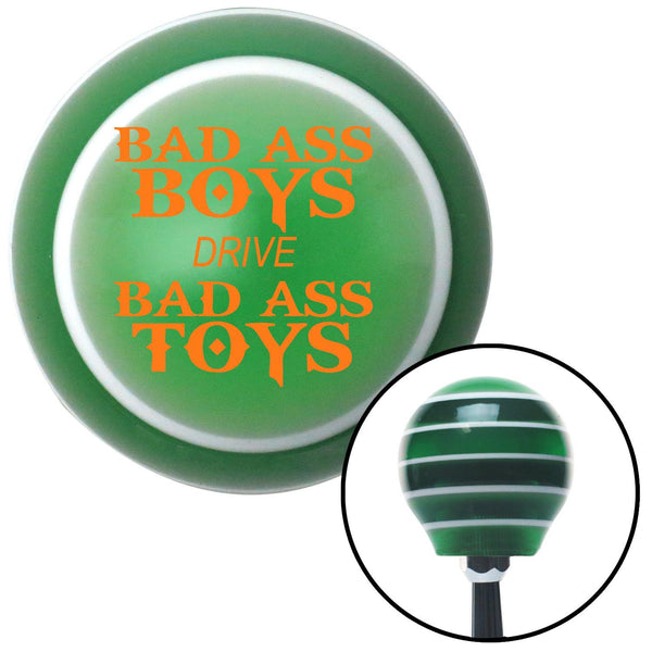 Orange Bad Ass Boys Drive Bad Ass Toys Green Stripe Shift Knob with M16 x 15 Insert - American Shifter - Dropship Direct Wholesale