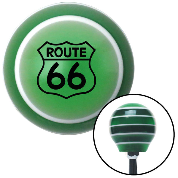 Black Route 66 Sign Green Stripe Shift Knob with M16 x 15 Insert - American Shifter - Dropship Direct Wholesale