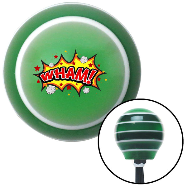 WHAM Green Stripe Shift Knob with M16 x 15 Insert - American Shifter - Dropship Direct Wholesale