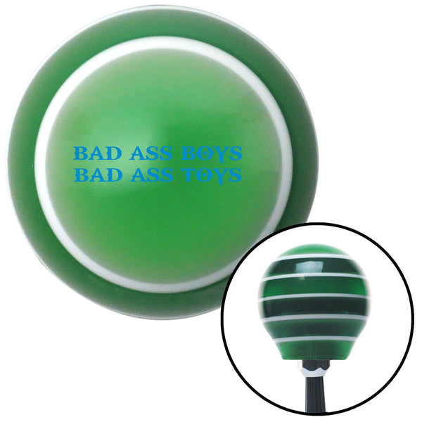 Blue Bad Ass Boys Bad Ass Toys Green Stripe Shift Knob with M16 x 15 Insert - American Shifter - Dropship Direct Wholesale
