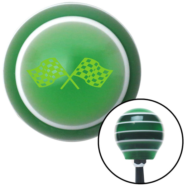 Green Dual Racing Flags Green Stripe Shift Knob with M16 x 15 Insert - American Shifter - Dropship Direct Wholesale