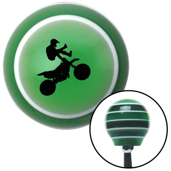 Black Motocross Rider Green Stripe Shift Knob with M16 x 15 Insert - American Shifter - Dropship Direct Wholesale