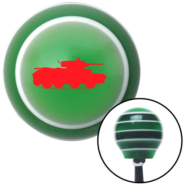 Red Military Tank Green Stripe Shift Knob with M16 x 15 Insert - American Shifter - Dropship Direct Wholesale