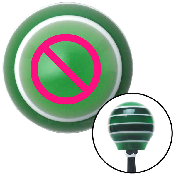 Pink NO Symbol Green Stripe Shift Knob with M16 x 15 Insert - American Shifter - Dropship Direct Wholesale