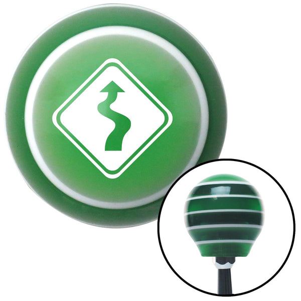 White Curvy Road Green Stripe Shift Knob with M16 x 15 Insert - American Shifter - Dropship Direct Wholesale