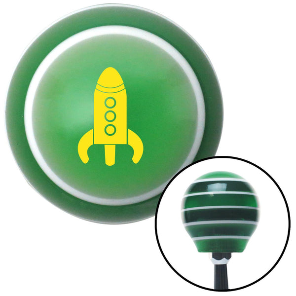 Yellow Space Ship Green Stripe Shift Knob with M16 x 15 Insert - American Shifter - Dropship Direct Wholesale