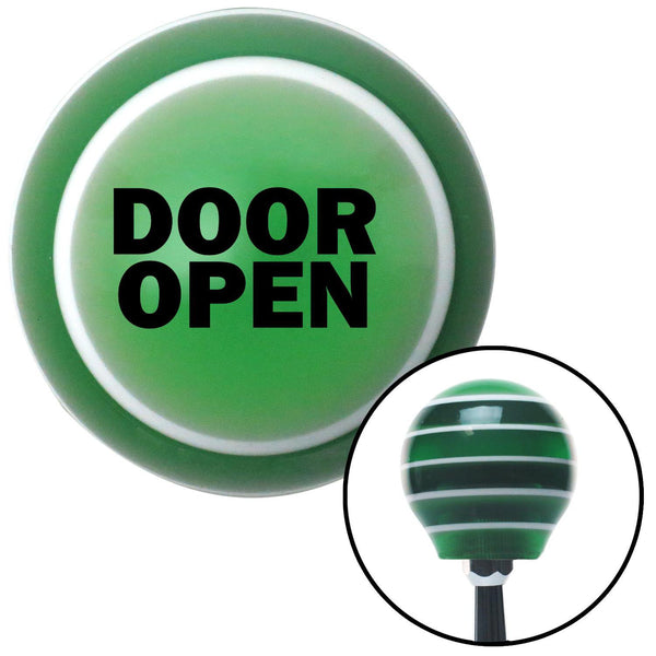 Black DOOR OPEN Green Stripe Shift Knob with M16 x 15 Insert - American Shifter - Dropship Direct Wholesale