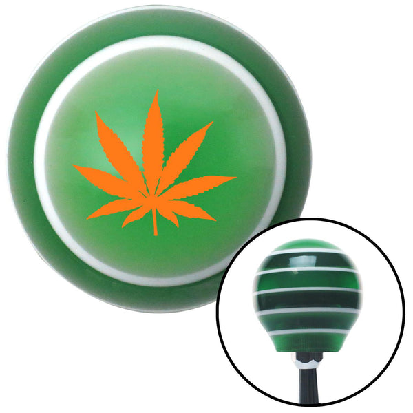 Orange Marijuana Leaf Green Stripe Shift Knob with M16 x 15 Insert - American Shifter - Dropship Direct Wholesale