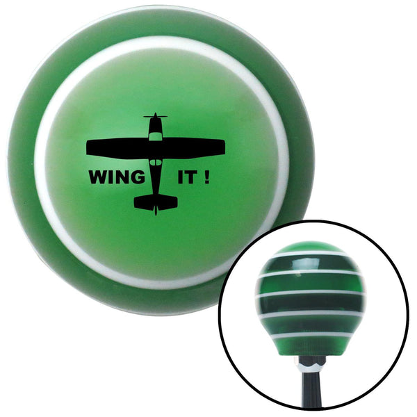 Black Wing It Green Stripe Shift Knob with M16 x 15 Insert - American Shifter - Dropship Direct Wholesale