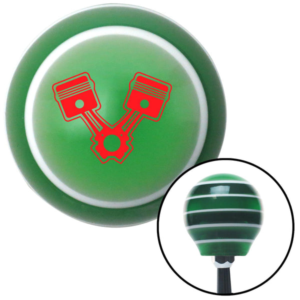 Red Pistons Green Stripe Shift Knob with M16 x 15 Insert - American Shifter - Dropship Direct Wholesale