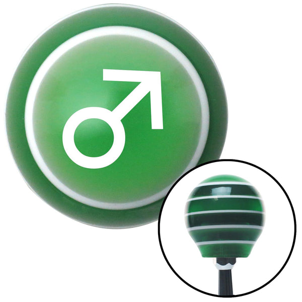 White Male Green Stripe Shift Knob with M16 x 15 Insert - American Shifter - Dropship Direct Wholesale