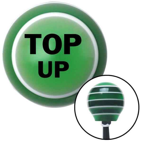 Black TOP UP Green Stripe Shift Knob with M16 x 15 Insert - American Shifter - Dropship Direct Wholesale