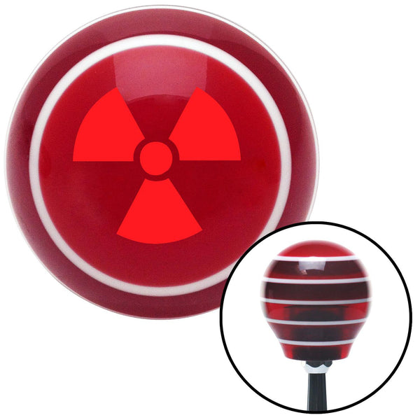 Red Nuclear Hazard Symbol Red Stripe Shift Knob with M16 x 15 Insert - American Shifter - Dropship Direct Wholesale