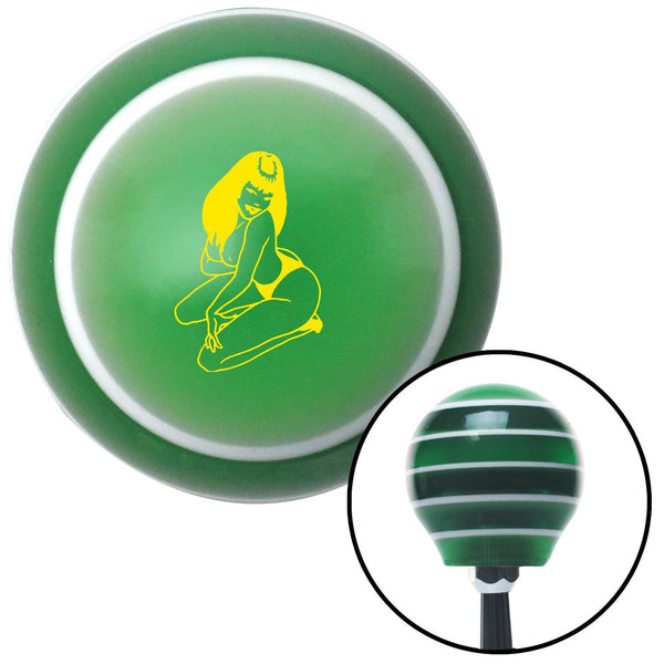 Yellow Sexy Girl Green Stripe Shift Knob with M16 x 15 Insert - American Shifter - Dropship Direct Wholesale