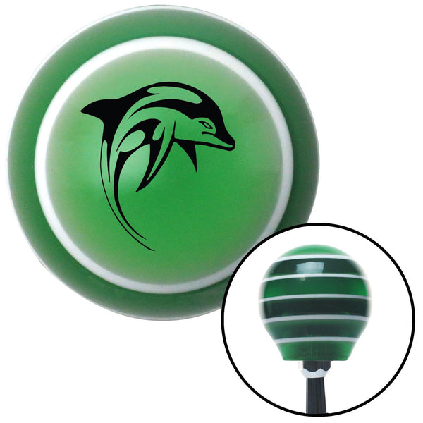 Black Dolphin Green Stripe Shift Knob with M16 x 15 Insert - American Shifter - Dropship Direct Wholesale
