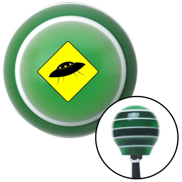 Yield to UFO Green Stripe Shift Knob with M16 x 15 Insert - American Shifter - Dropship Direct Wholesale