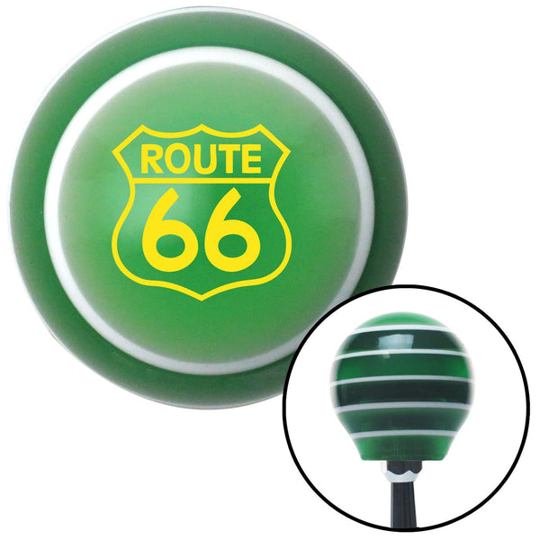 Yellow Route 66 Sign Green Stripe Shift Knob with M16 x 15 Insert - American Shifter - Dropship Direct Wholesale