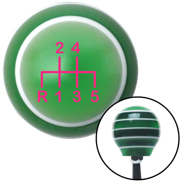 Pink Shift Pattern 17n Green Stripe Shift Knob with M16 x 15 Insert - American Shifter - Dropship Direct Wholesale