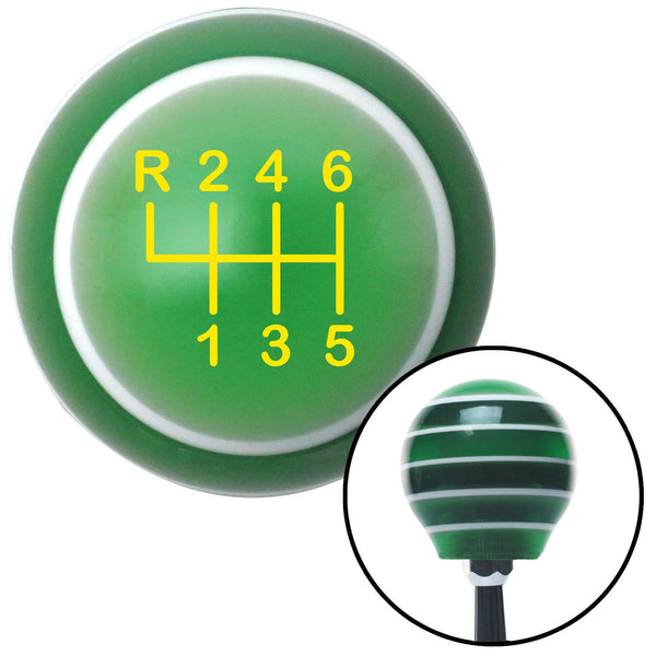 Yellow Shift Pattern 19n Green Stripe Shift Knob with M16 x 15 Insert - American Shifter - Dropship Direct Wholesale