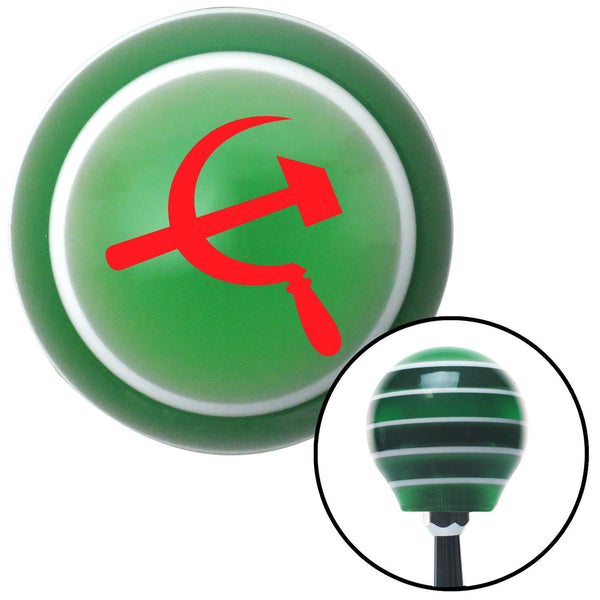 Red Hammer  Sickle Green Stripe Shift Knob with M16 x 15 Insert - American Shifter - Dropship Direct Wholesale