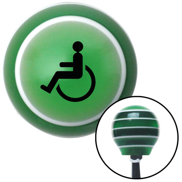 Black Wheelchair Green Stripe Shift Knob with M16 x 15 Insert - American Shifter - Dropship Direct Wholesale