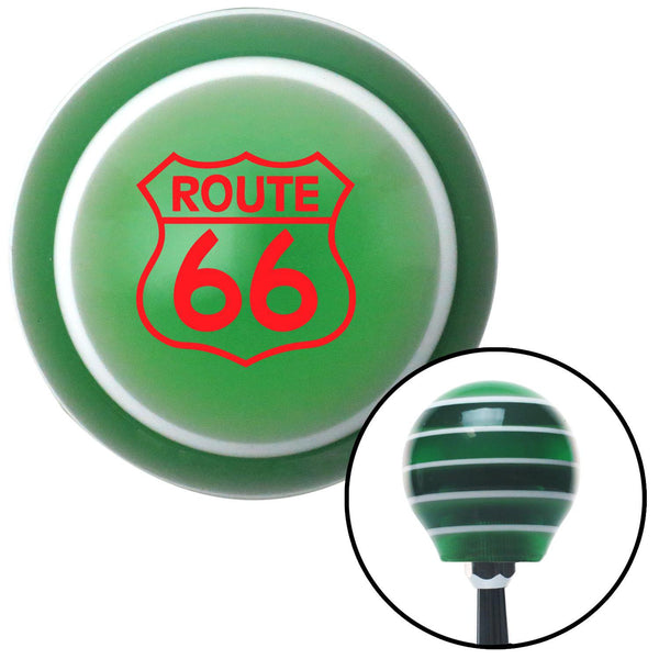 Red Route 66 Sign Green Stripe Shift Knob with M16 x 15 Insert - American Shifter - Dropship Direct Wholesale