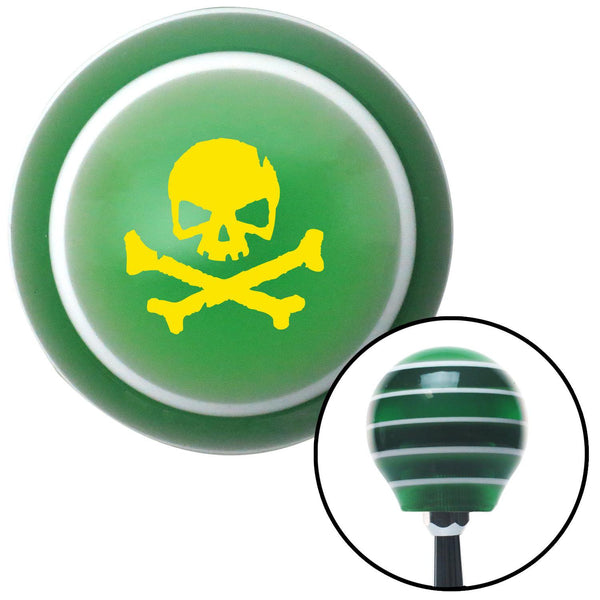 Yellow Skull 1 Green Stripe Shift Knob with M16 x 15 Insert - American Shifter - Dropship Direct Wholesale