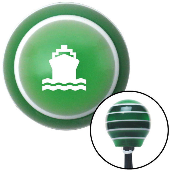 White Cruise Ship Green Stripe Shift Knob with M16 x 15 Insert - American Shifter - Dropship Direct Wholesale