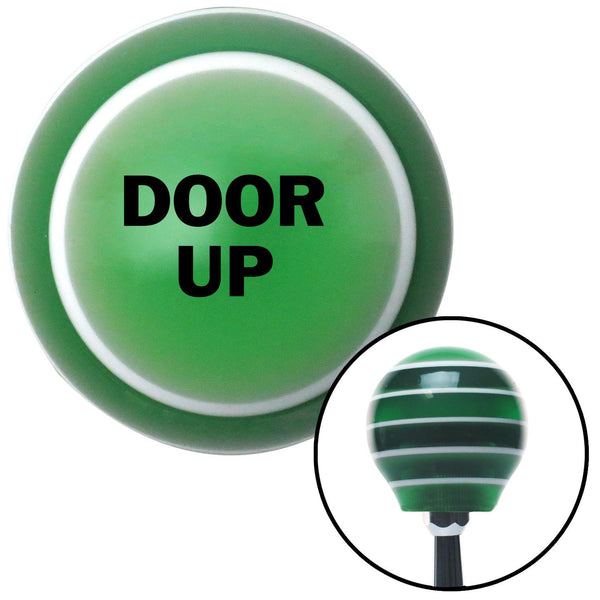 Black DOOR UP Green Stripe Shift Knob with M16 x 15 Insert - American Shifter - Dropship Direct Wholesale